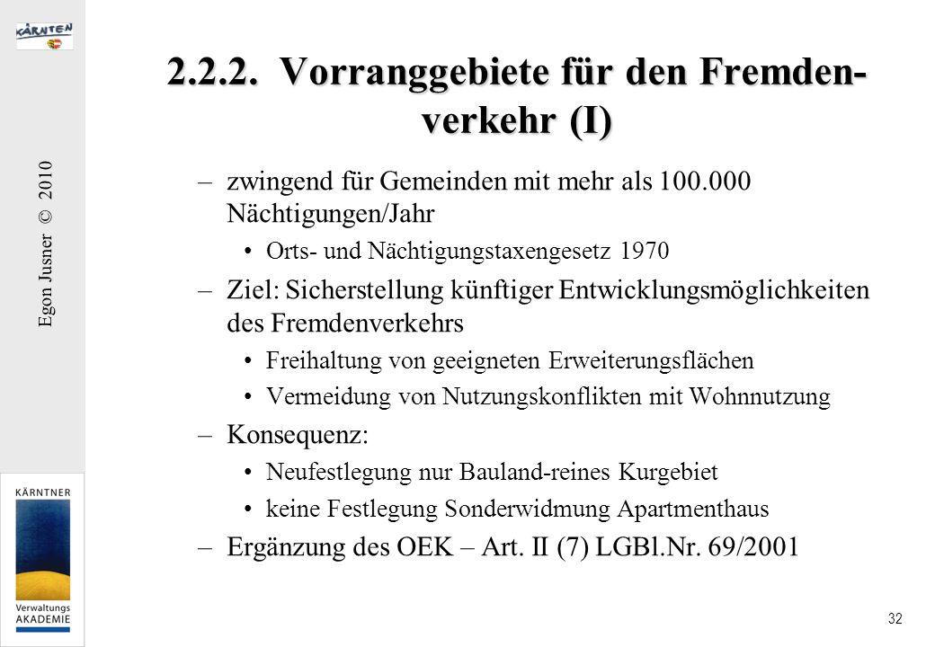 Egon Jusner © 2010 32 2.2.2. Vorranggebiete für den Fremden- verkehr (I) –zwingend für Gemeinden mit mehr als 100.000 Nächtigungen/Jahr Orts- und Näch