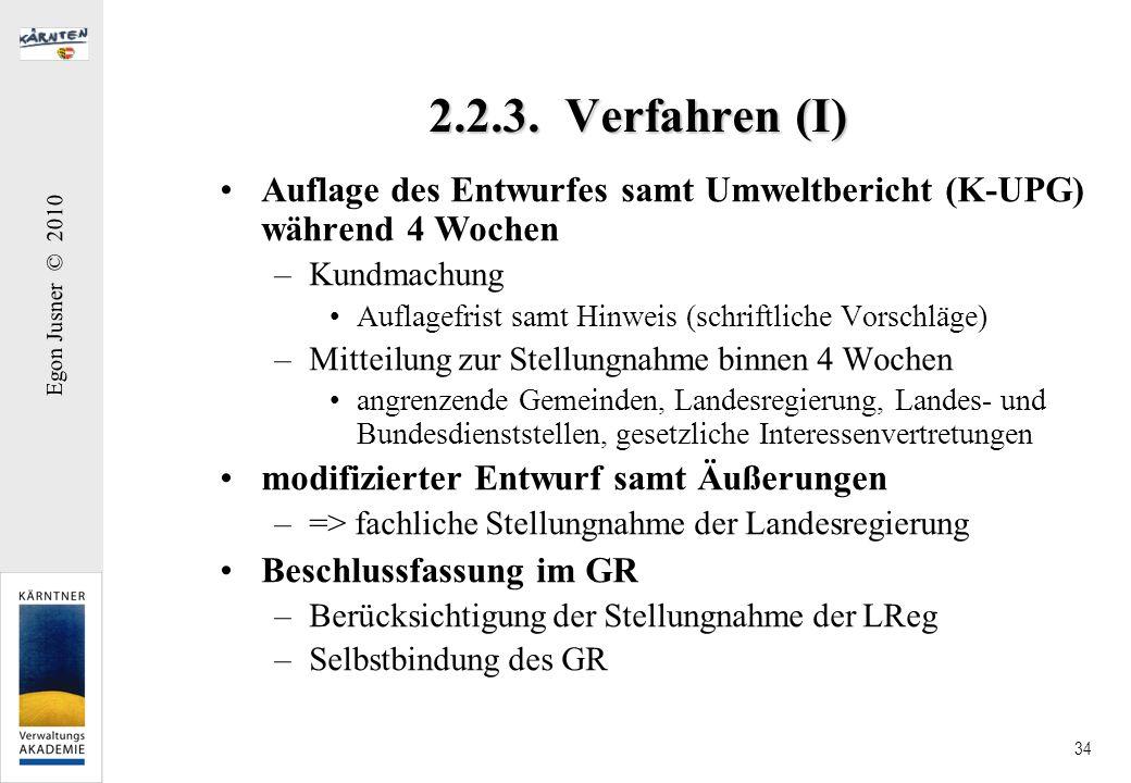 Egon Jusner © 2010 34 2.2.3. Verfahren (I) Auflage des Entwurfes samt Umweltbericht (K-UPG) während 4 Wochen –Kundmachung Auflagefrist samt Hinweis (s