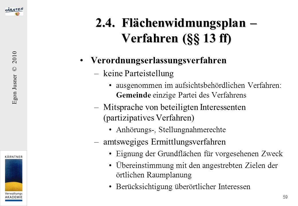 Egon Jusner © 2010 59 2.4. Flächenwidmungsplan – Verfahren (§§ 13 ff) Verordnungserlassungsverfahren –keine Parteistellung ausgenommen im aufsichtsbeh