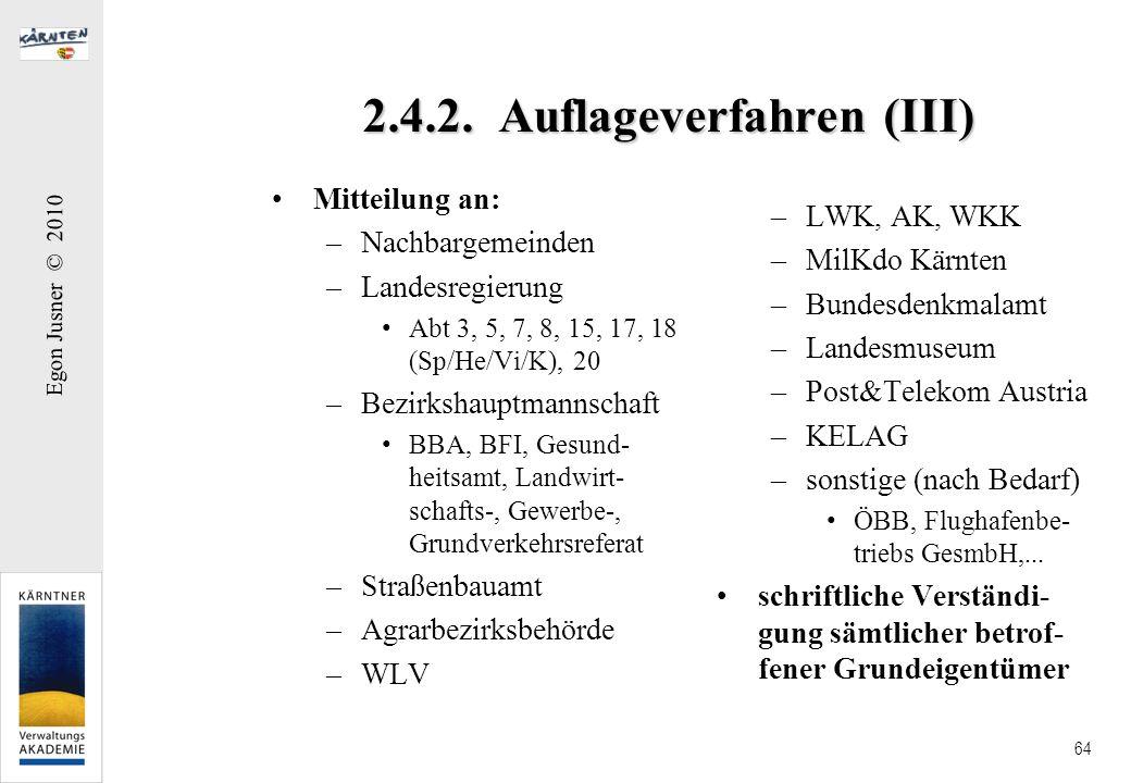 Egon Jusner © 2010 64 2.4.2. Auflageverfahren (III) Mitteilung an: –Nachbargemeinden –Landesregierung Abt 3, 5, 7, 8, 15, 17, 18 (Sp/He/Vi/K), 20 –Bez