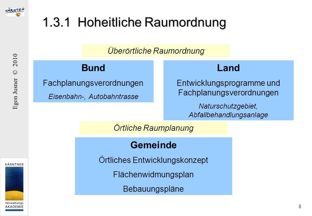 Egon Jusner © 2010 8 1.3.1 Hoheitliche Raumordnung Überörtliche Raumordnung Örtliche Raumplanung Bund Fachplanungsverordnungen Eisenbahn-, Autobahntra