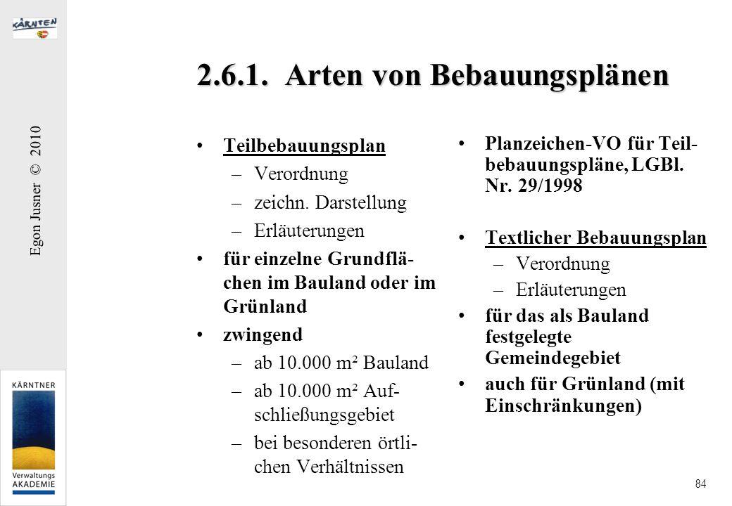 Egon Jusner © 2010 84 2.6.1. Arten von Bebauungsplänen Teilbebauungsplan –Verordnung –zeichn. Darstellung –Erläuterungen für einzelne Grundflä- chen i