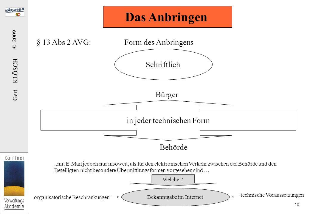Gert KLÖSCH © 2009 10 § 13 Abs 2 AVG: Form des Anbringens Das Anbringen Schriftlich in jeder technischen Form Bürger Behörde..mit E-Mail jedoch nur in