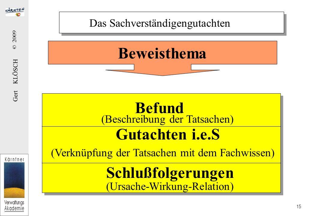 Gert KLÖSCH © 2009 15 Das Sachverständigengutachten Befund (Beschreibung der Tatsachen) Gutachten i.e.S (Verknüpfung der Tatsachen mit dem Fachwissen)