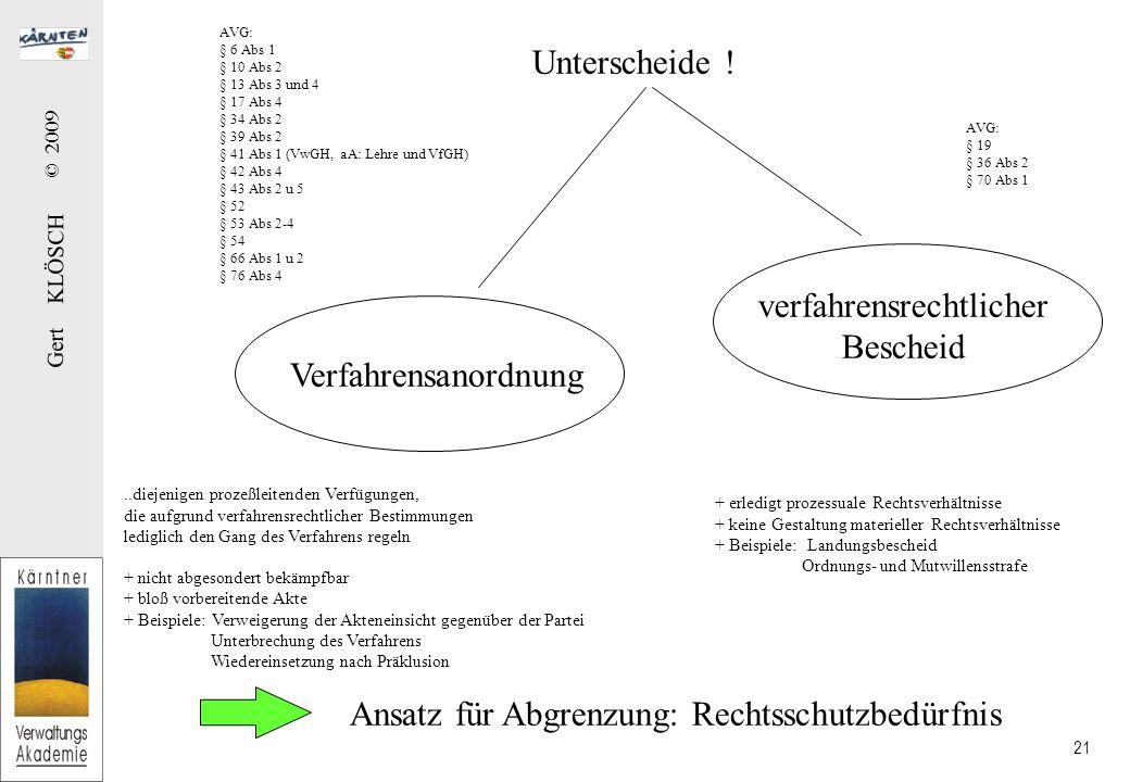 Gert KLÖSCH © 2009 21 Unterscheide ! Verfahrensanordnung verfahrensrechtlicher Bescheid..diejenigen prozeßleitenden Verfügungen, die aufgrund verfahre