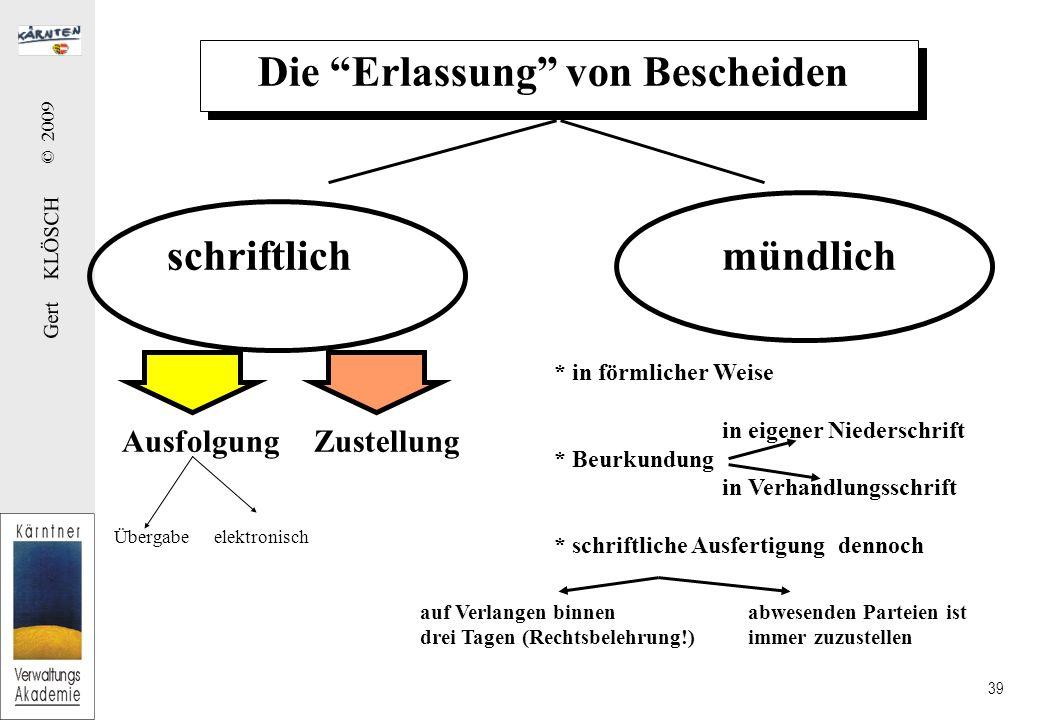 Gert KLÖSCH © 2009 39 Die Erlassung von Bescheiden schriftlichmündlich Zustellung * in förmlicher Weise in eigener Niederschrift * Beurkundung in Verh