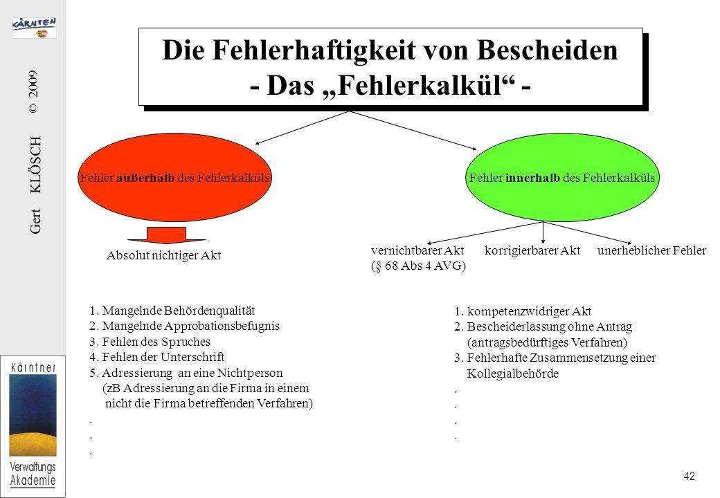 Gert KLÖSCH © 2009 42 Die Fehlerhaftigkeit von Bescheiden - Das Fehlerkalkül - Die Fehlerhaftigkeit von Bescheiden - Das Fehlerkalkül - Fehler außerha