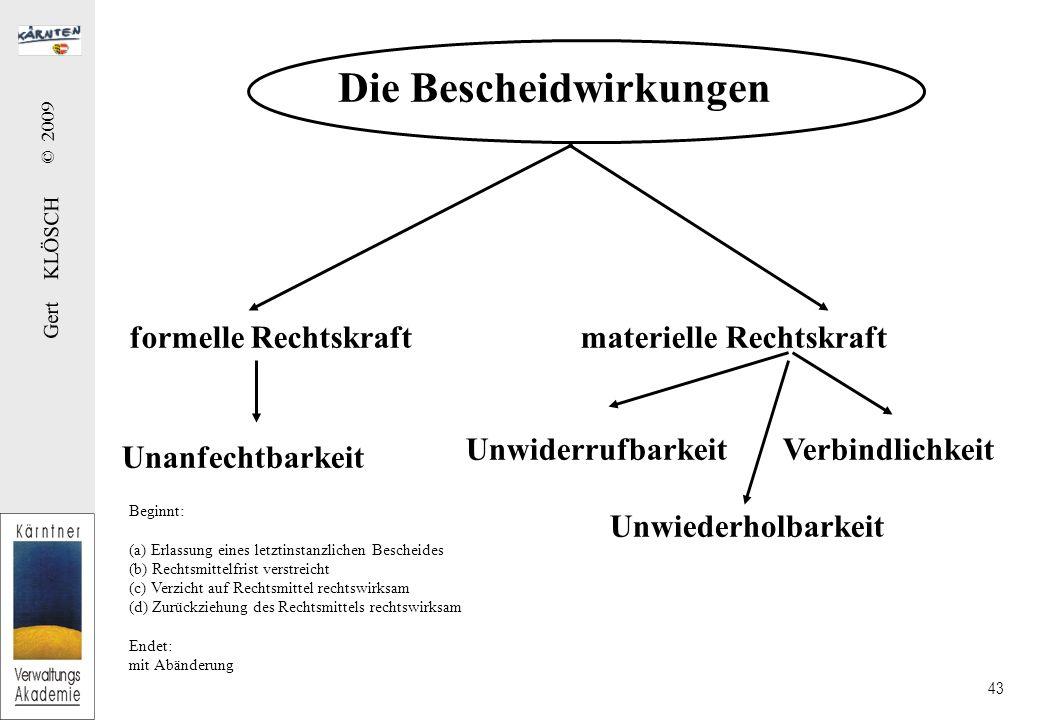 Gert KLÖSCH © 2009 43 Die Bescheidwirkungen formelle Rechtskraft materielle Rechtskraft Unanfechtbarkeit Unwiderrufbarkeit Verbindlichkeit Unwiederhol