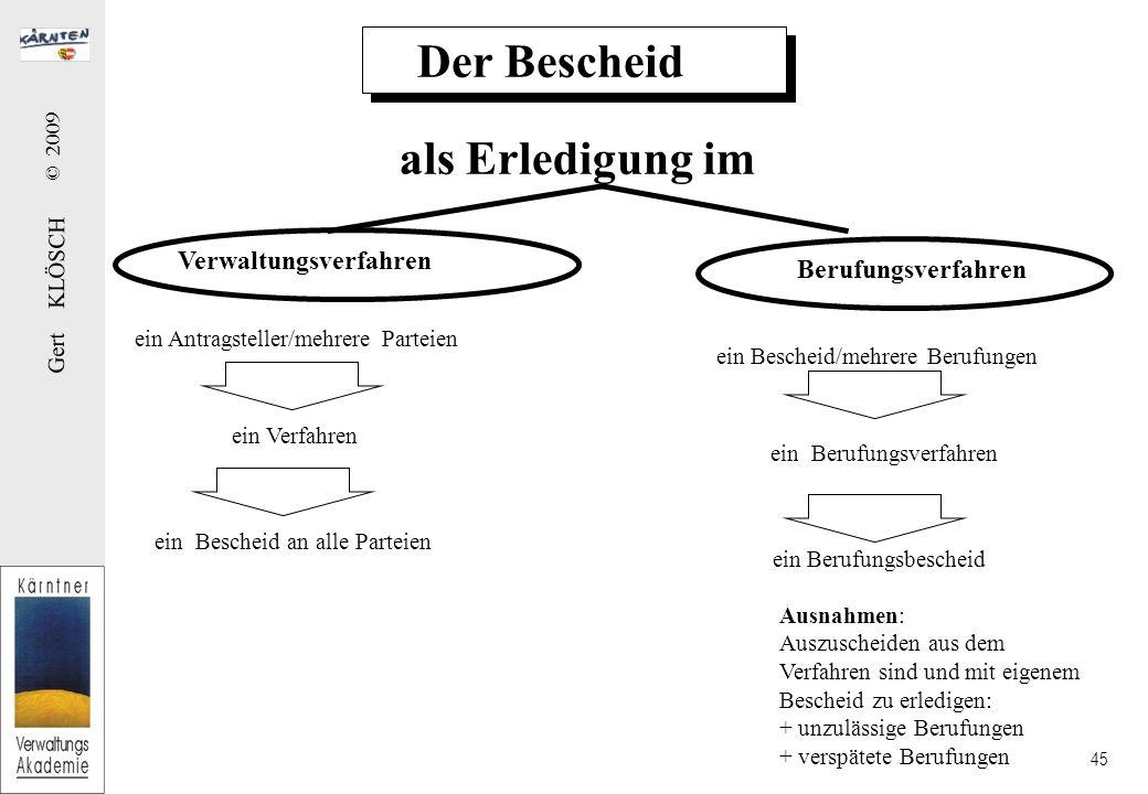 Gert KLÖSCH © 2009 45 Der Bescheid als Erledigung im Verwaltungsverfahren Berufungsverfahren ein Antragsteller/mehrere Parteien ein Verfahren ein Besc