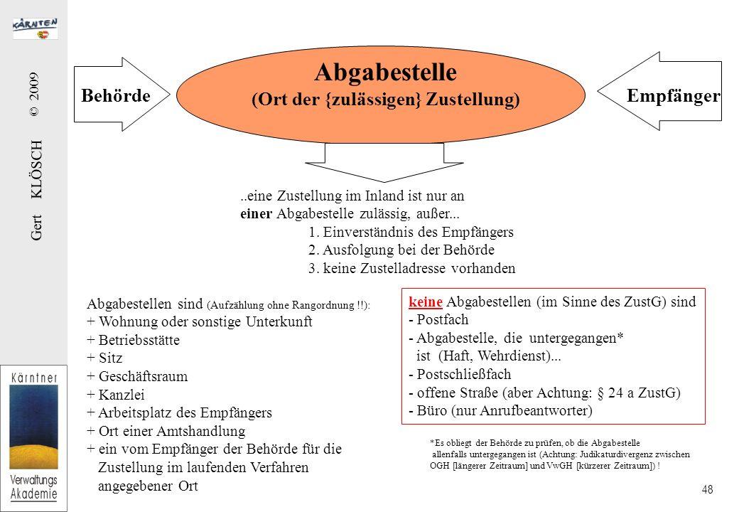 Gert KLÖSCH © 2009 48 Abgabestelle (Ort der {zulässigen} Zustellung) BehördeEmpfänger..eine Zustellung im Inland ist nur an einer Abgabestelle zulässi