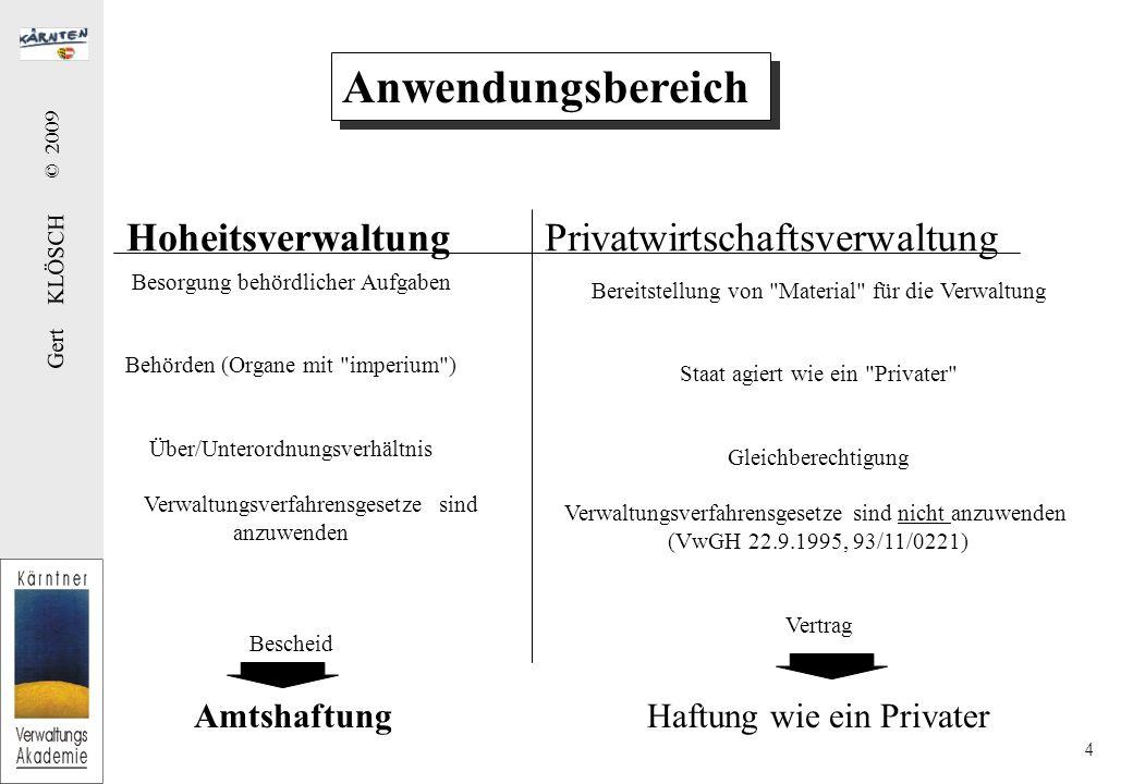 Gert KLÖSCH © 2009 4 Anwendungsbereich HoheitsverwaltungPrivatwirtschaftsverwaltung Besorgung behördlicher Aufgaben Behörden (Organe mit