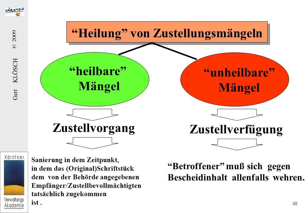 Gert KLÖSCH © 2009 49 Heilung von Zustellungsmängeln heilbare Mängel unheilbare Mängel Zustellvorgang Zustellverfügung Sanierung in dem Zeitpunkt, in