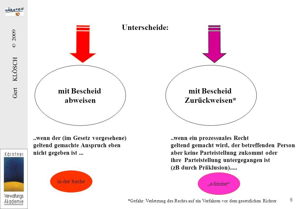 Gert KLÖSCH © 2009 6 Unterscheide: mit Bescheid abweisen mit Bescheid Zurückweisen*..wenn der (im Gesetz vorgesehene) geltend gemachte Anspruch eben n