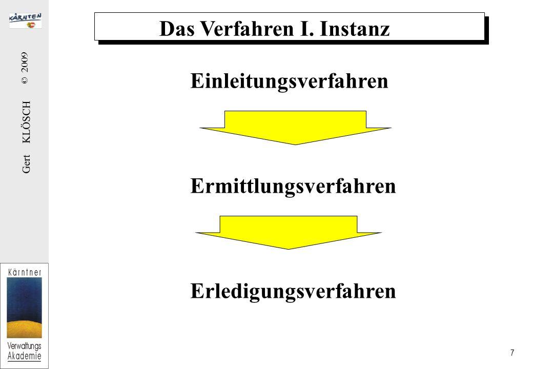Gert KLÖSCH © 2009 28 (4) Der Spruch (1)Hauptfrage zur Gänze (amtswegig, Parteiantrag) Ausnahmen: Teilbescheid, verbundenes Verfahren (2) angewendete Gesetzesbestimmungen (3) allfällige Kosten (4) Paritionsfrist (bei Leistungsbescheid) (5) Ausschluss der aufschiebenden Wirkung einer Berufung (6) Nebenbestimmungen a) Bedingungen (Achtung: Bedingungsfeindlichkeit des öffentlichen Rechts) b) Auflagen c) Befristung d) Widerrufsvorbehalt