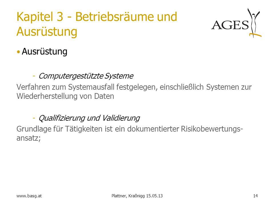 www.basg.at14Plattner, Kraßnigg 15.05.13 Kapitel 3 - Betriebsräume und Ausrüstung Ausrüstung -Computergestützte Systeme Verfahren zum Systemausfall fe