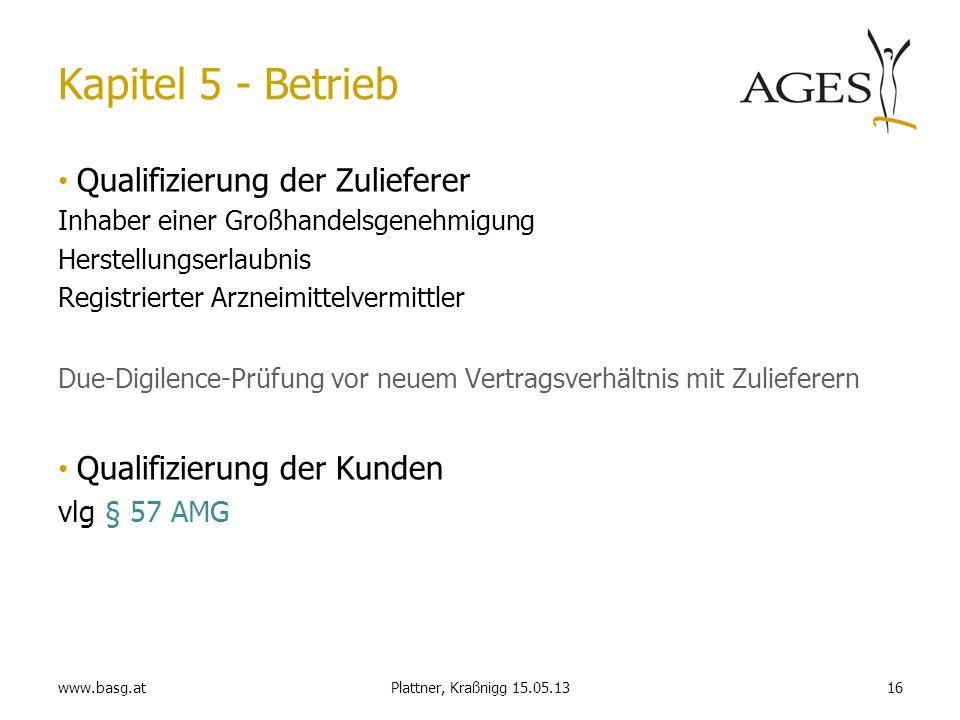 www.basg.at16Plattner, Kraßnigg 15.05.13 Kapitel 5 - Betrieb Qualifizierung der Zulieferer Inhaber einer Großhandelsgenehmigung Herstellungserlaubnis