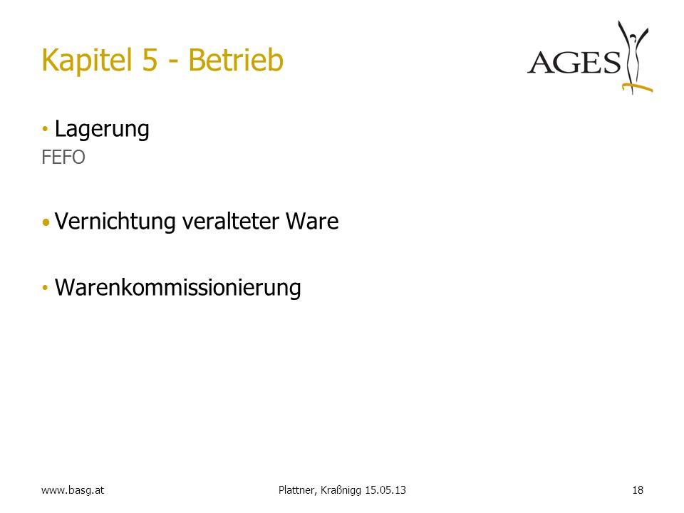 www.basg.at18Plattner, Kraßnigg 15.05.13 Kapitel 5 - Betrieb Lagerung FEFO Vernichtung veralteter Ware Warenkommissionierung