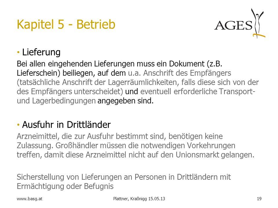 www.basg.at19Plattner, Kraßnigg 15.05.13 Kapitel 5 - Betrieb Lieferung Bei allen eingehenden Lieferungen muss ein Dokument (z.B. Lieferschein) beilieg