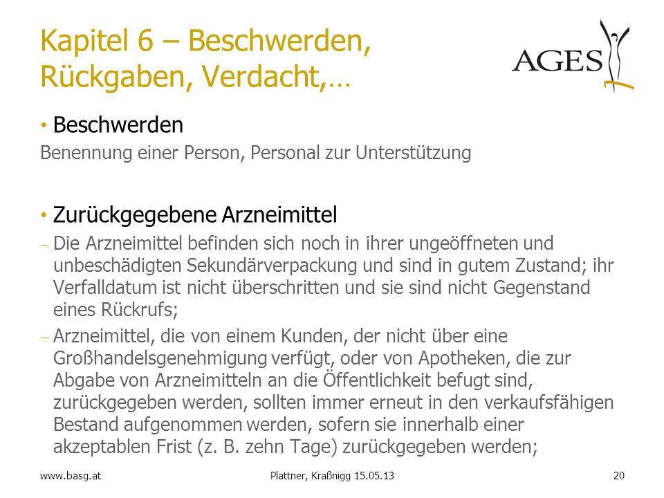 www.basg.at20Plattner, Kraßnigg 15.05.13 Kapitel 6 – Beschwerden, Rückgaben, Verdacht,… Beschwerden Benennung einer Person, Personal zur Unterstützung