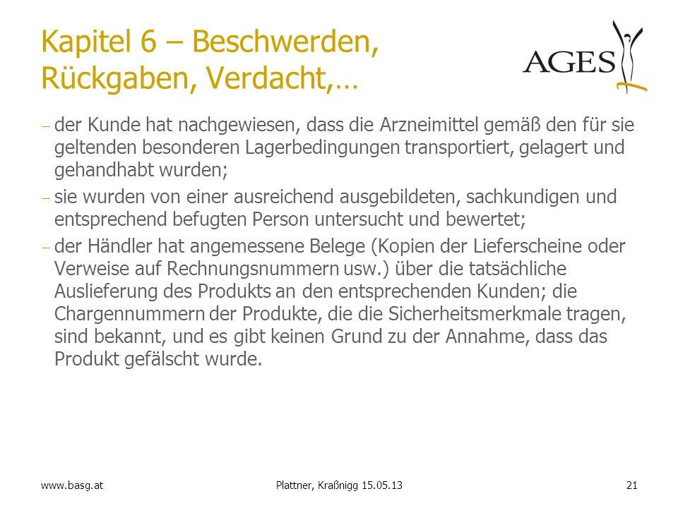www.basg.at21Plattner, Kraßnigg 15.05.13 Kapitel 6 – Beschwerden, Rückgaben, Verdacht,… der Kunde hat nachgewiesen, dass die Arzneimittel gemäß den fü