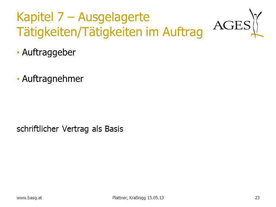 www.basg.at23Plattner, Kraßnigg 15.05.13 Kapitel 7 – Ausgelagerte Tätigkeiten/Tätigkeiten im Auftrag Auftraggeber Auftragnehmer schriftlicher Vertrag