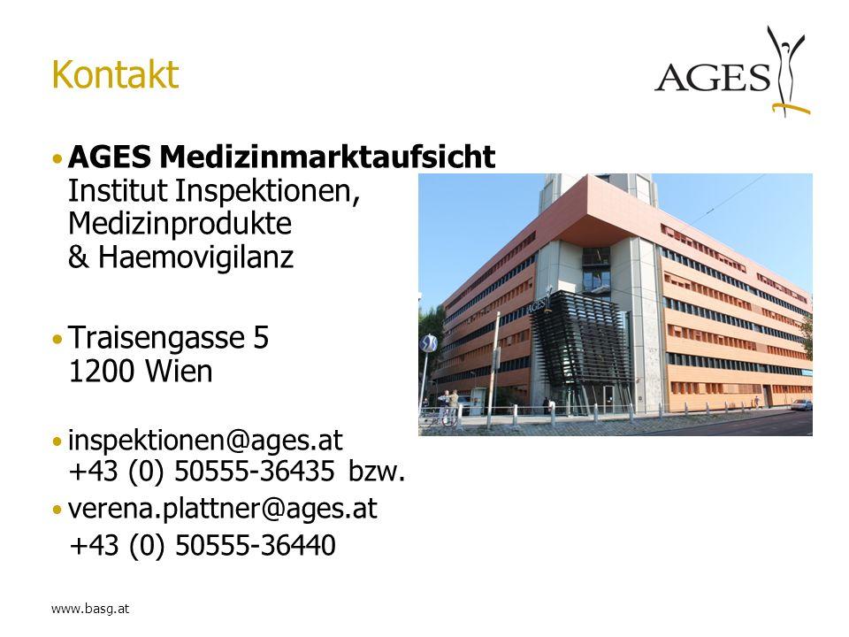 www.basg.at Kontakt AGES Medizinmarktaufsicht Institut Inspektionen, Medizinprodukte & Haemovigilanz Traisengasse 5 1200 Wien inspektionen@ages.at +43