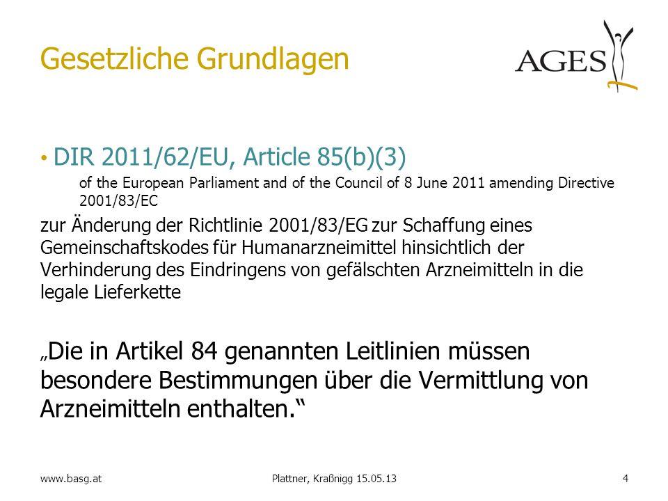 www.basg.at4Plattner, Kraßnigg 15.05.13 Gesetzliche Grundlagen DIR 2011/62/EU, Article 85(b)(3) of the European Parliament and of the Council of 8 Jun