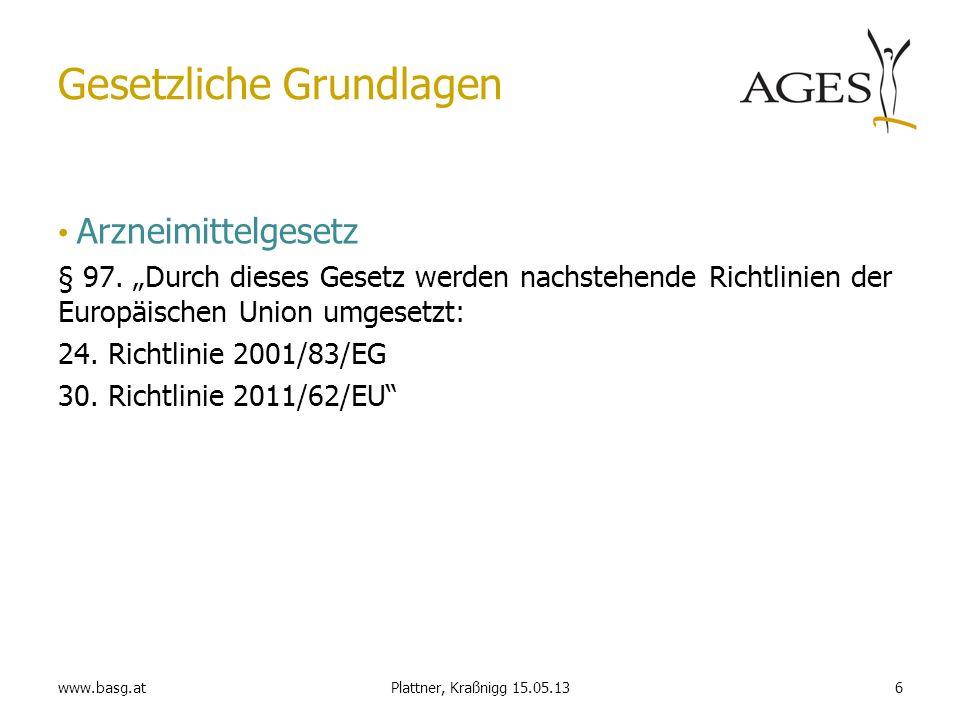 www.basg.at6Plattner, Kraßnigg 15.05.13 Gesetzliche Grundlagen Arzneimittelgesetz § 97. Durch dieses Gesetz werden nachstehende Richtlinien der Europä
