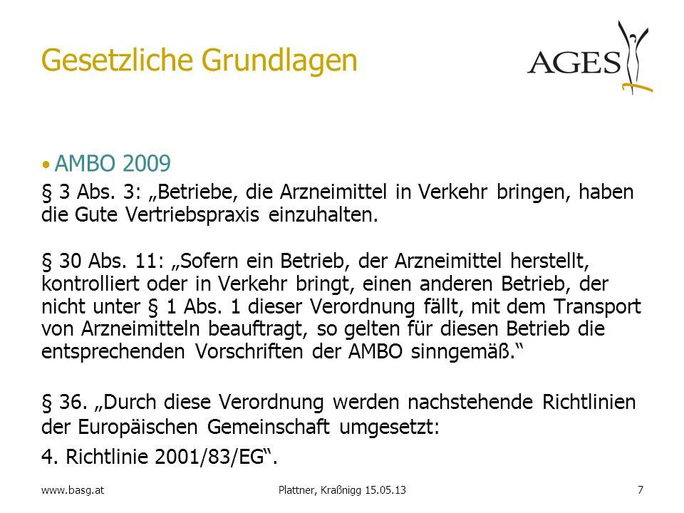 www.basg.at7Plattner, Kraßnigg 15.05.13 Gesetzliche Grundlagen AMBO 2009 § 3 Abs. 3: Betriebe, die Arzneimittel in Verkehr bringen, haben die Gute Ver