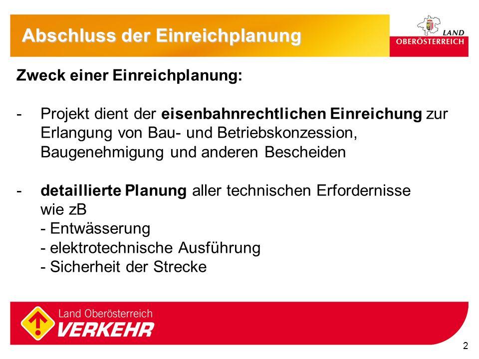 2 Zweck einer Einreichplanung: -Projekt dient der eisenbahnrechtlichen Einreichung zur Erlangung von Bau- und Betriebskonzession, Baugenehmigung und a