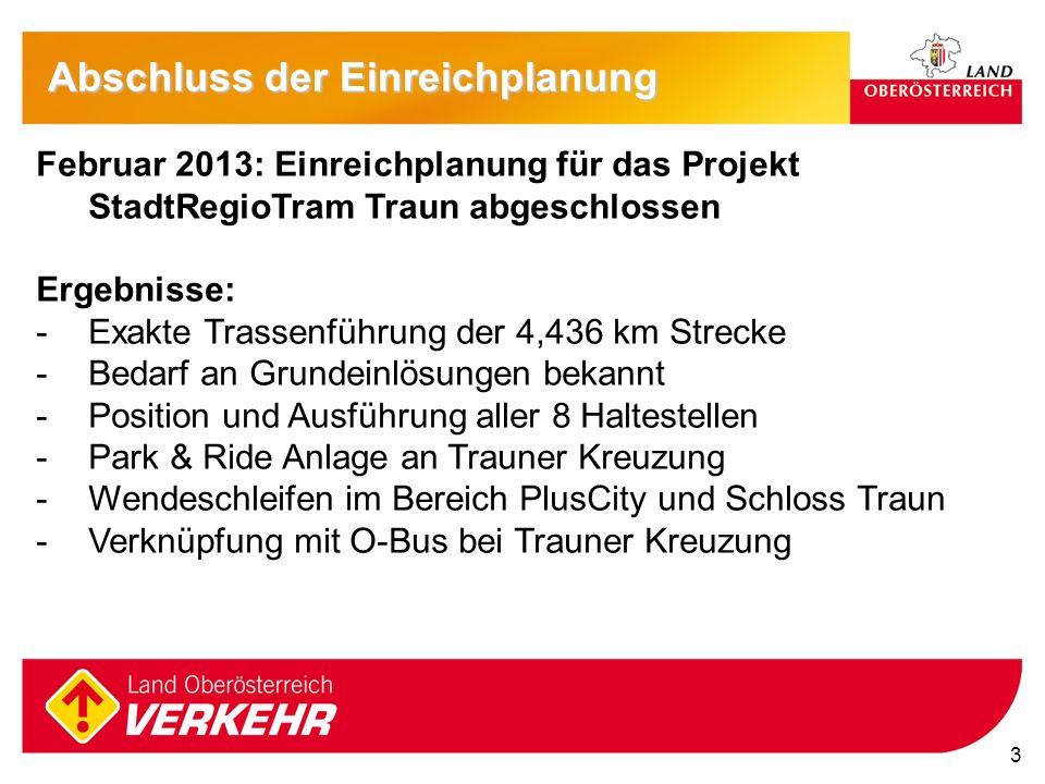 3 Februar 2013: Einreichplanung für das Projekt StadtRegioTram Traun abgeschlossen Ergebnisse: -Exakte Trassenführung der 4,436 km Strecke -Bedarf an