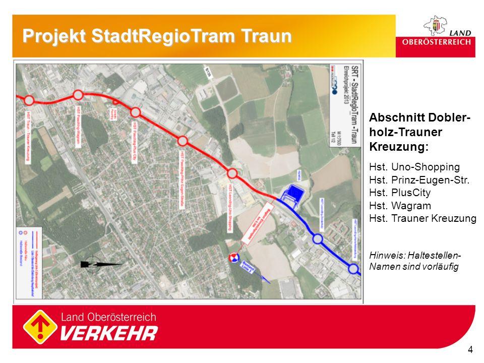 4 Projekt StadtRegioTram Traun Abschnitt Dobler- holz-Trauner Kreuzung: Hst. Uno-Shopping Hst. Prinz-Eugen-Str. Hst. PlusCity Hst. Wagram Hst. Trauner