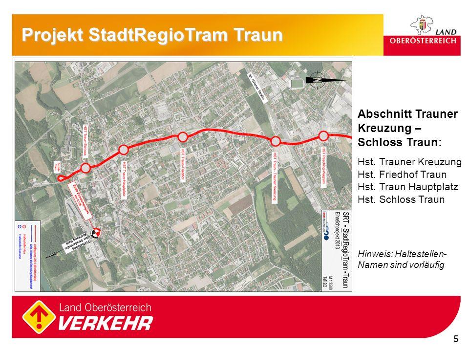 5 Projekt StadtRegioTram Traun Abschnitt Trauner Kreuzung – Schloss Traun: Hst. Trauner Kreuzung Hst. Friedhof Traun Hst. Traun Hauptplatz Hst. Schlos