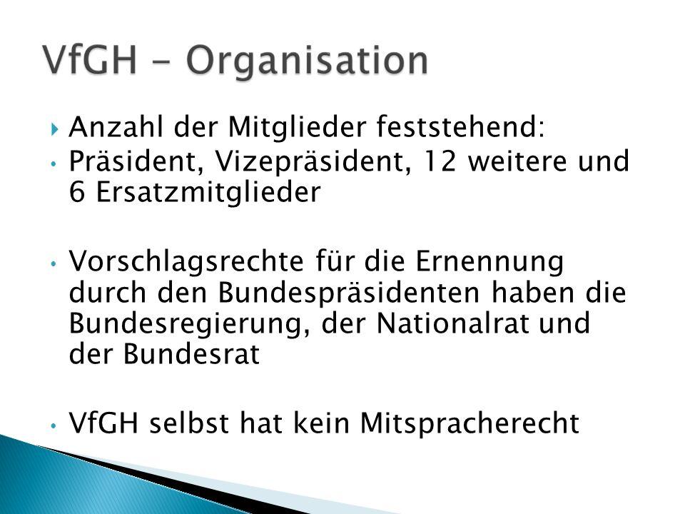 Anzahl der Mitglieder feststehend: Präsident, Vizepräsident, 12 weitere und 6 Ersatzmitglieder Vorschlagsrechte für die Ernennung durch den Bundespräs