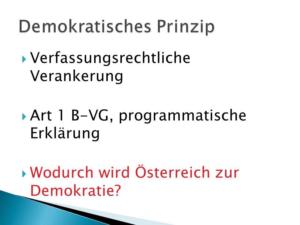 Verfassungsrechtliche Verankerung Art 1 B-VG, programmatische Erklärung Wodurch wird Österreich zur Demokratie?