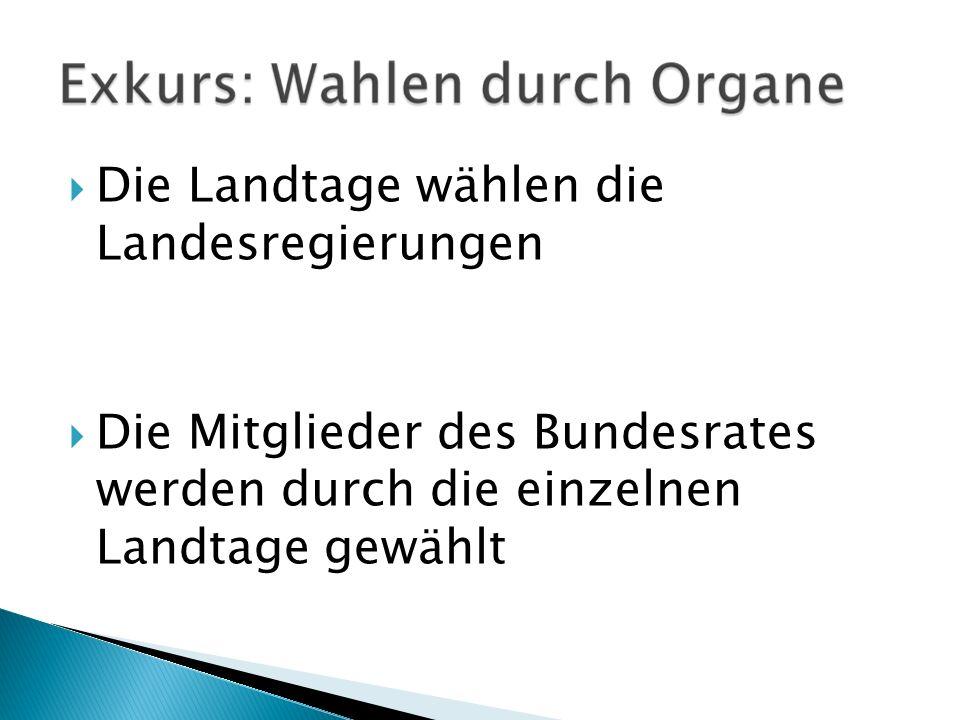 Die Landtage wählen die Landesregierungen Die Mitglieder des Bundesrates werden durch die einzelnen Landtage gewählt