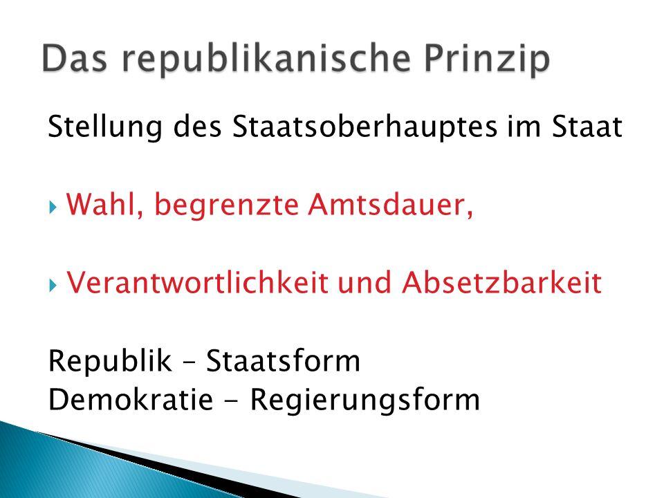 Stellung des Staatsoberhauptes im Staat Wahl, begrenzte Amtsdauer, Verantwortlichkeit und Absetzbarkeit Republik – Staatsform Demokratie - Regierungsf