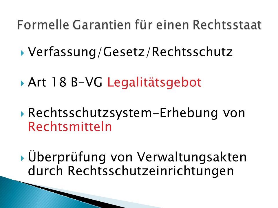 Verfassung/Gesetz/Rechtsschutz Art 18 B-VG Legalitätsgebot Rechtsschutzsystem-Erhebung von Rechtsmitteln Überprüfung von Verwaltungsakten durch Rechts
