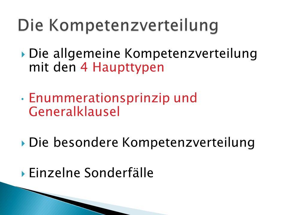 Die allgemeine Kompetenzverteilung mit den 4 Haupttypen Enummerationsprinzip und Generalklausel Die besondere Kompetenzverteilung Einzelne Sonderfälle