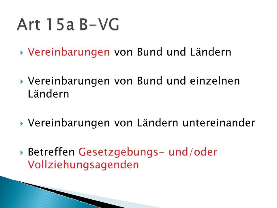 Vereinbarungen von Bund und Ländern Vereinbarungen von Bund und einzelnen Ländern Vereinbarungen von Ländern untereinander Betreffen Gesetzgebungs- un