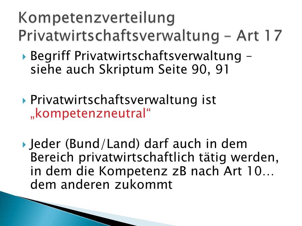 Begriff Privatwirtschaftsverwaltung – siehe auch Skriptum Seite 90, 91 Privatwirtschaftsverwaltung ist kompetenzneutral Jeder (Bund/Land) darf auch in