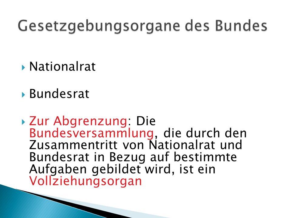 Nationalrat Bundesrat Zur Abgrenzung: Die Bundesversammlung, die durch den Zusammentritt von Nationalrat und Bundesrat in Bezug auf bestimmte Aufgaben