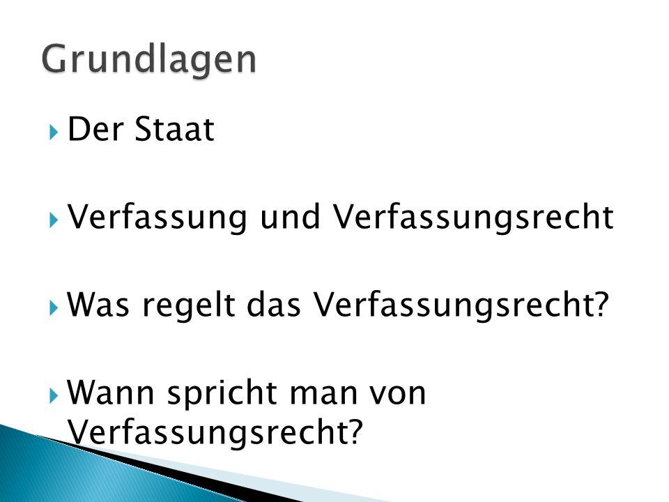Der Staat Begriffe –Verfassung/-srecht Stufenbau der Rechtsordnung Bundesverfassungsrecht/Landes- Rechtsquellen des Verfassungsrechtes