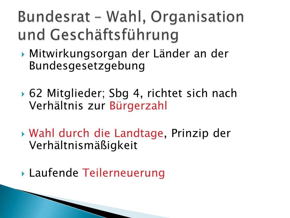 Mitwirkungsorgan der Länder an der Bundesgesetzgebung 62 Mitglieder; Sbg 4, richtet sich nach Verhältnis zur Bürgerzahl Wahl durch die Landtage, Prinz