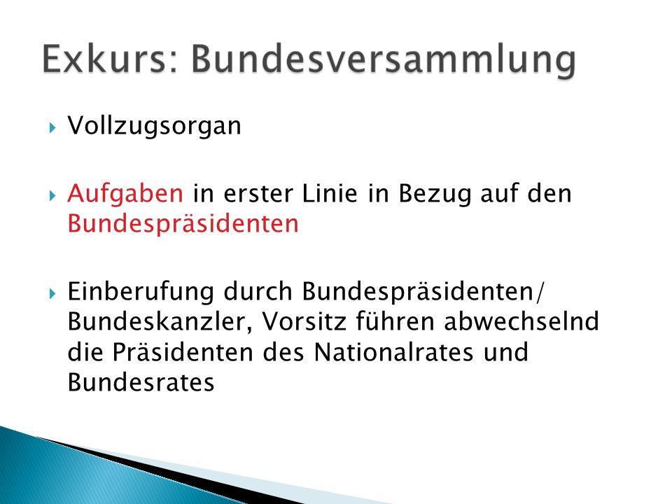 Vollzugsorgan Aufgaben in erster Linie in Bezug auf den Bundespräsidenten Einberufung durch Bundespräsidenten/ Bundeskanzler, Vorsitz führen abwechsel