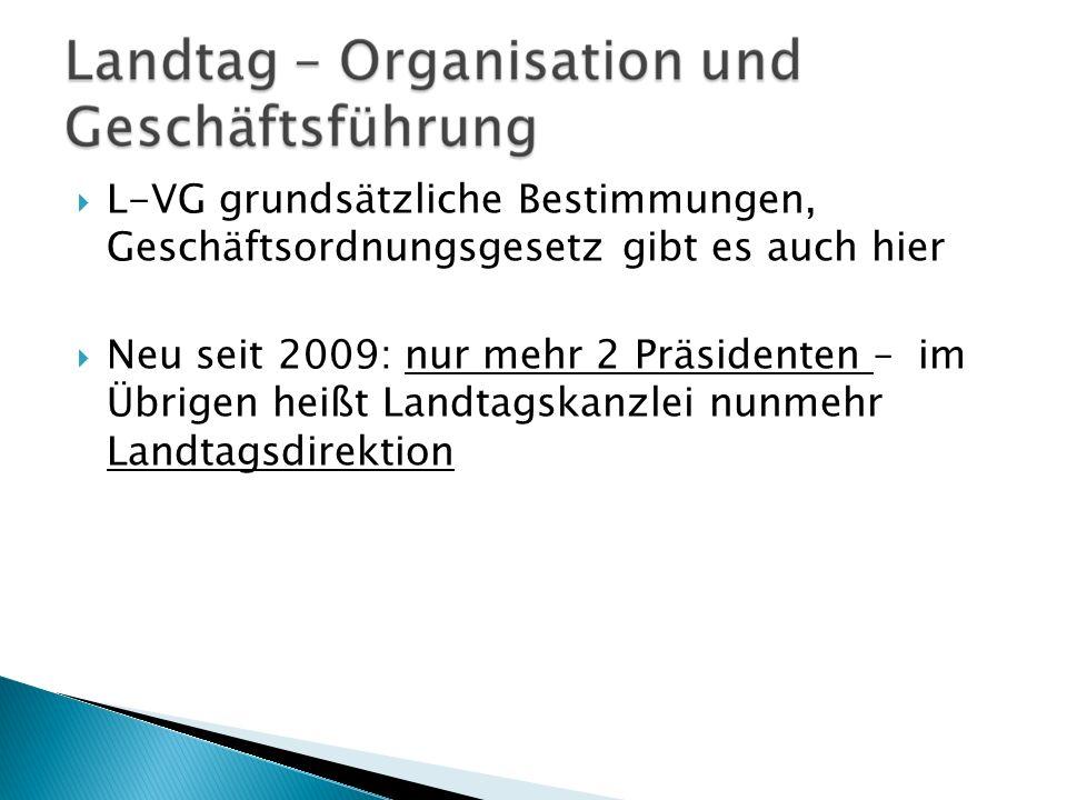 L-VG grundsätzliche Bestimmungen, Geschäftsordnungsgesetz gibt es auch hier Neu seit 2009: nur mehr 2 Präsidenten –im Übrigen heißt Landtagskanzlei nu