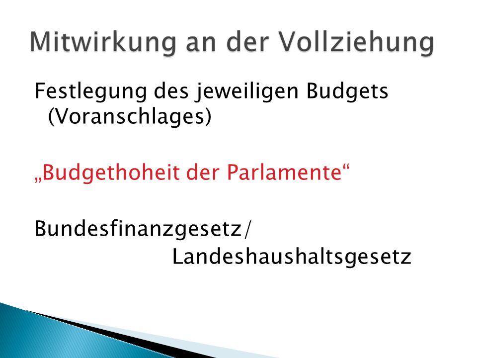Festlegung des jeweiligen Budgets (Voranschlages) Budgethoheit der Parlamente Bundesfinanzgesetz/ Landeshaushaltsgesetz
