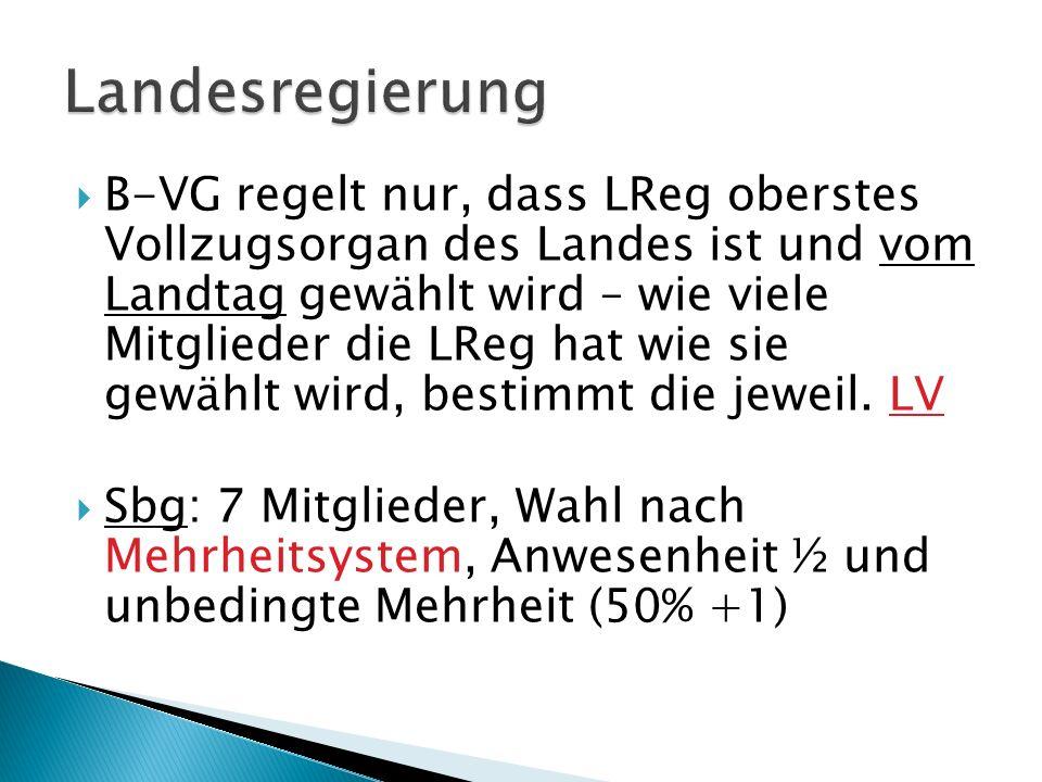 B-VG regelt nur, dass LReg oberstes Vollzugsorgan des Landes ist und vom Landtag gewählt wird – wie viele Mitglieder die LReg hat wie sie gewählt wird