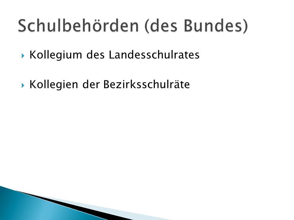 Kollegium des Landesschulrates Kollegien der Bezirksschulräte