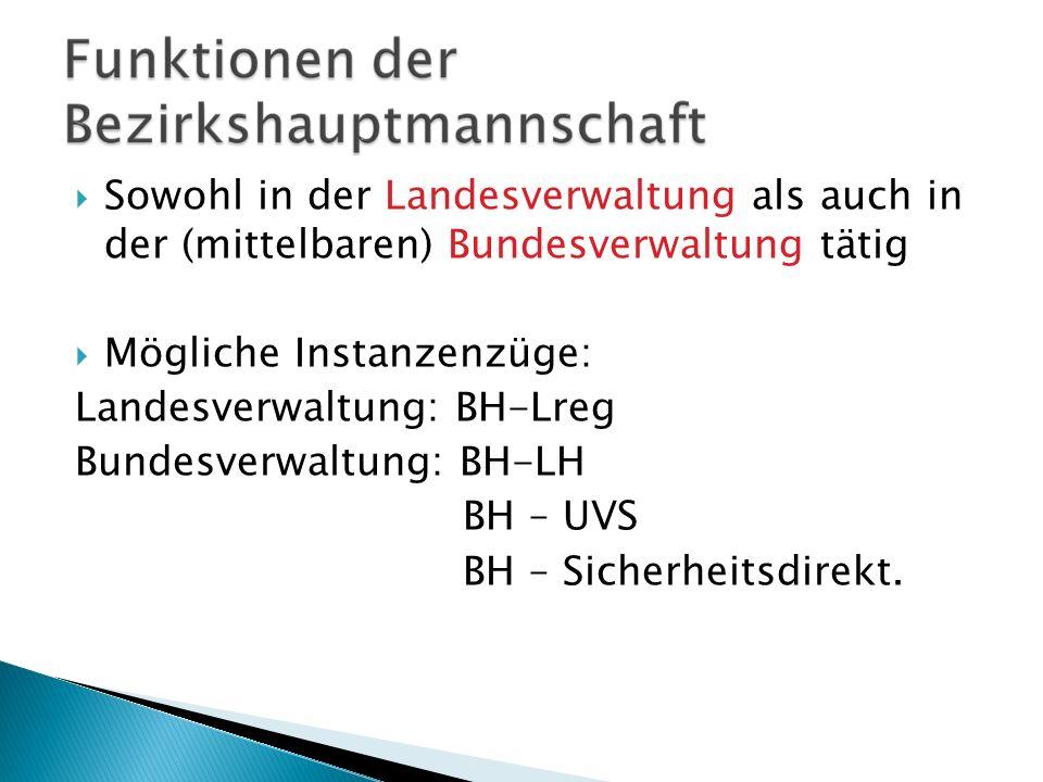 Sowohl in der Landesverwaltung als auch in der (mittelbaren) Bundesverwaltung tätig Mögliche Instanzenzüge: Landesverwaltung: BH-Lreg Bundesverwaltung